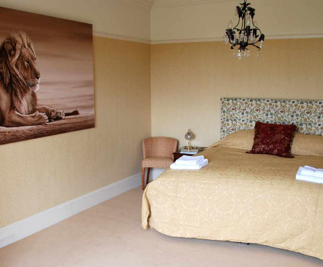 \'Lion\' bedroom. The master double bedroom is large and bright