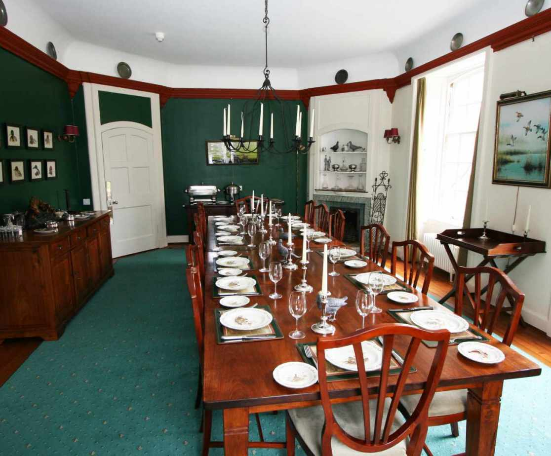 The dining room is a traditional room