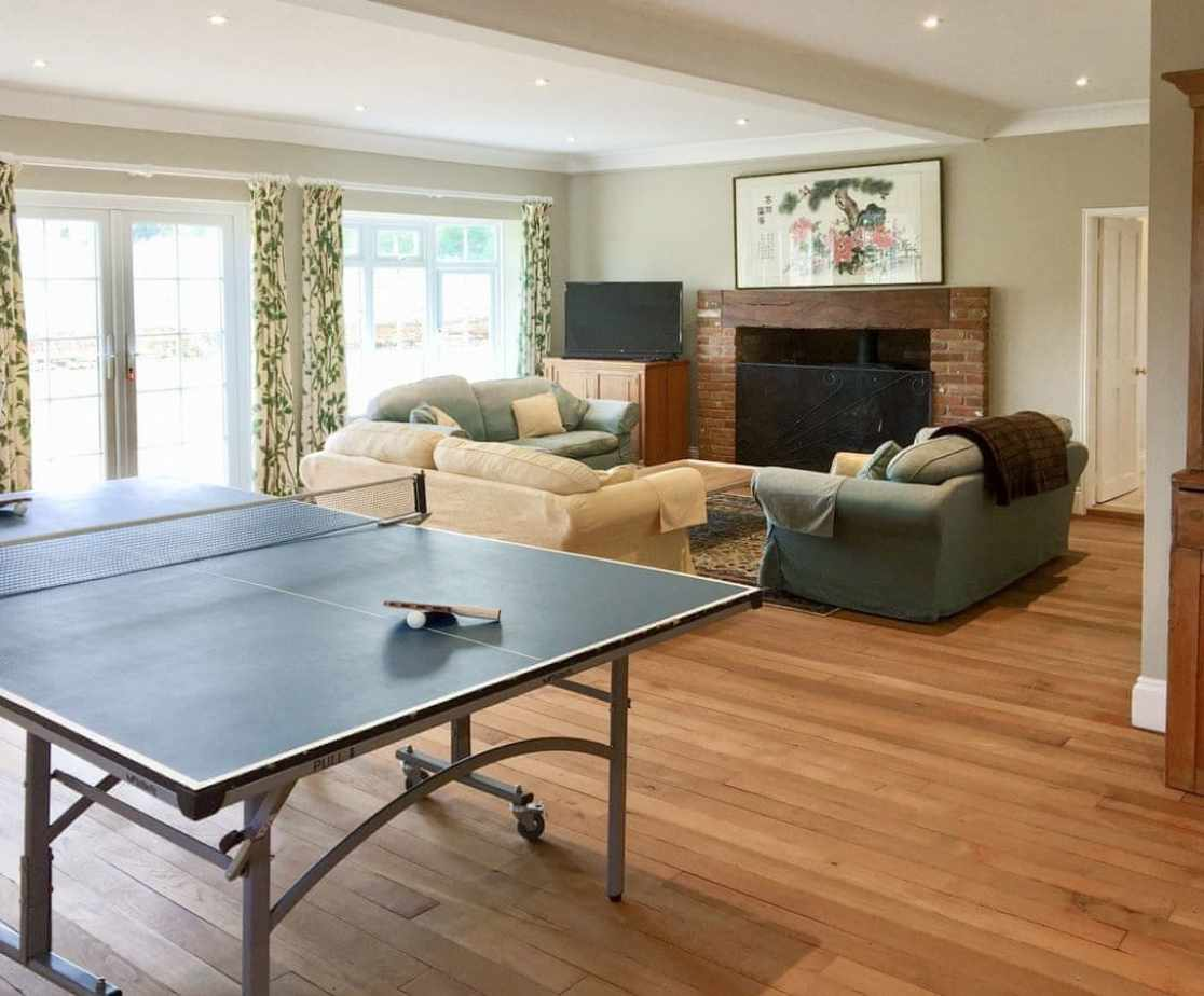 Large games room with lounge area