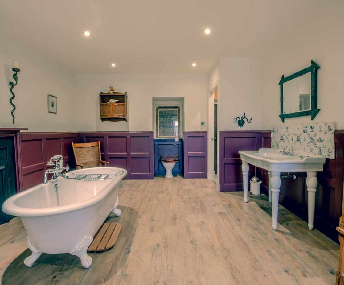 Beautiful bathroom, with central feature tub