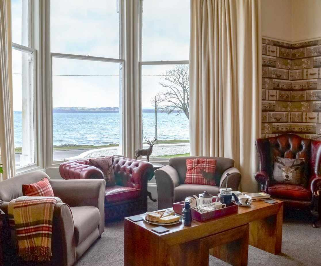 Stunning sea views from the seating area in the dining room