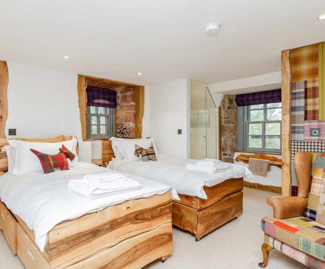 Quirky Contemporary Castle near Largs, Ayrshire  twin bedrooms with tartan twist