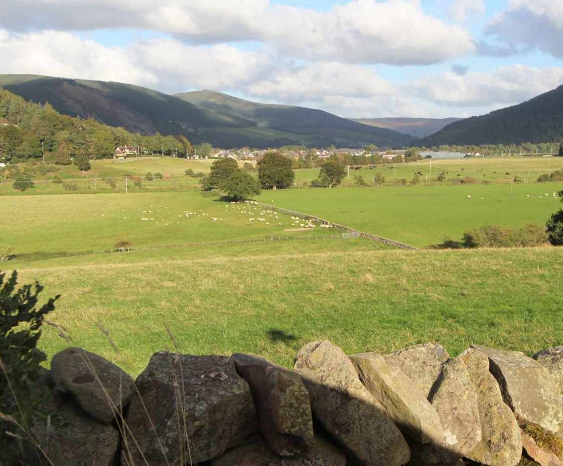 The view from the road overlooking Innerleithen and the Tweed Valley