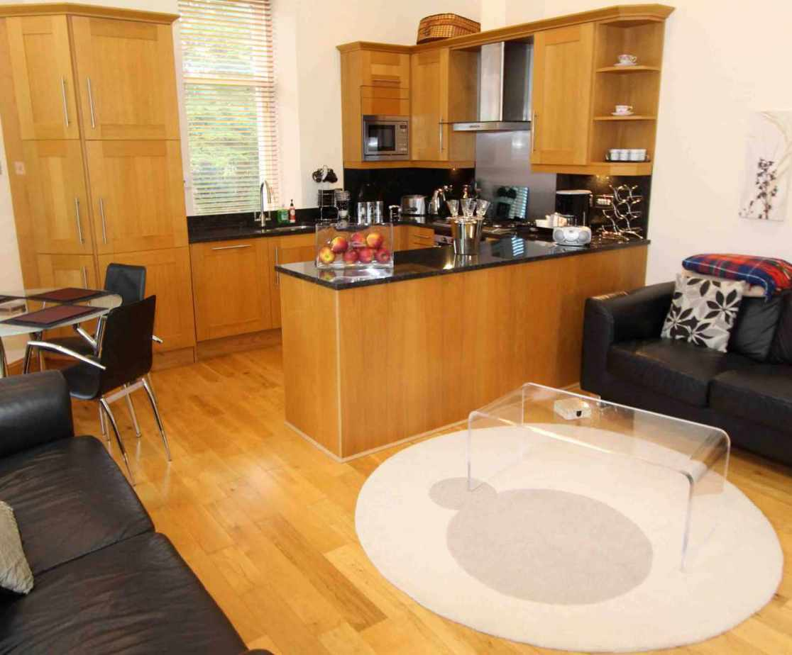 The open plan living and kitchen area is a perfect space
