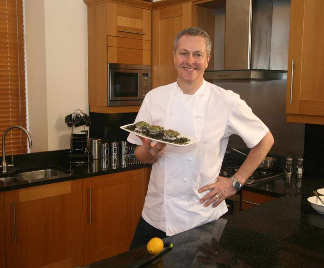 Nick Nairn, the TV chef, cooking in the Dollarbeg Castle kitchen
