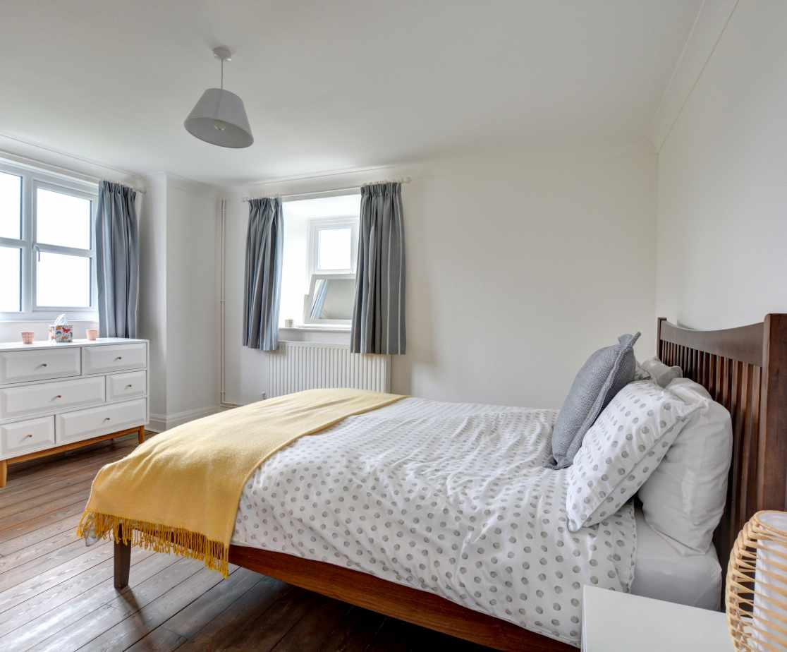 The second king sized double bedroom with sea views