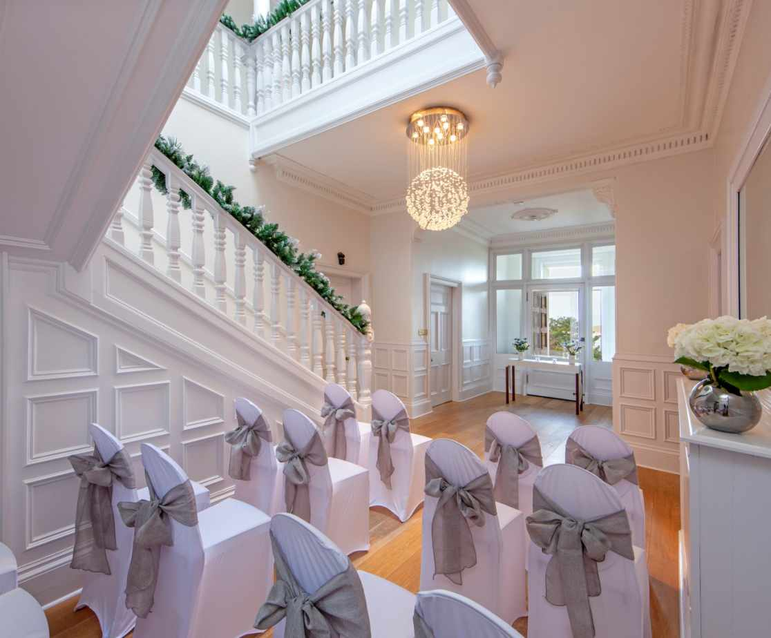 Front hall set up for intimate wedding
