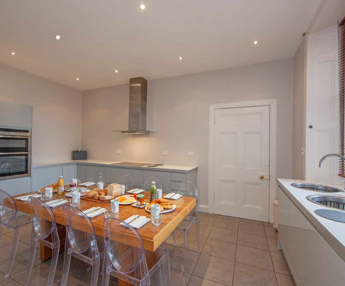 Large kitchen well equipped with all the kit required to cater for large house parties
