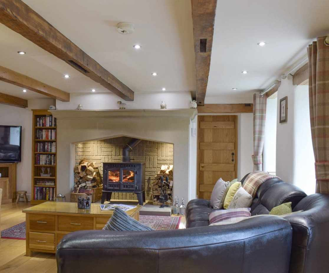 Welcoming living area with warming wood burner