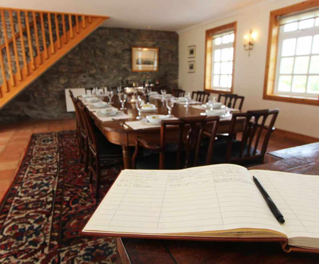 Dine with friends and leave your thoughts in the visitors book