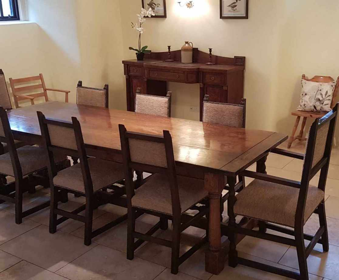 The dining area of the kitchen is ideal for up to 10 people