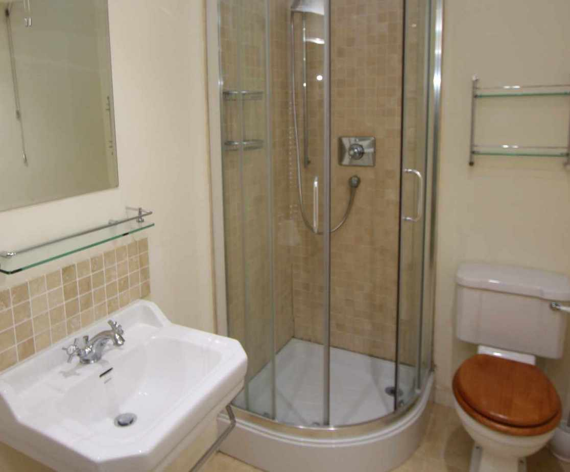 The shared shower room is located on the second floor