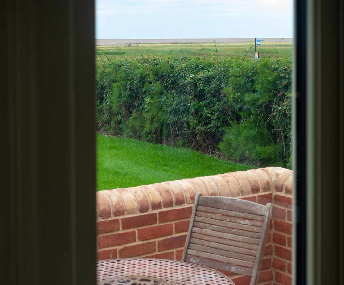 View from seating area at front of Eastgate Cottage