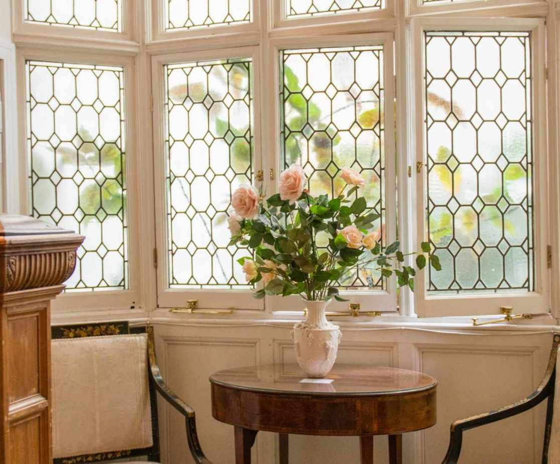 The huge windows bring in lots of light