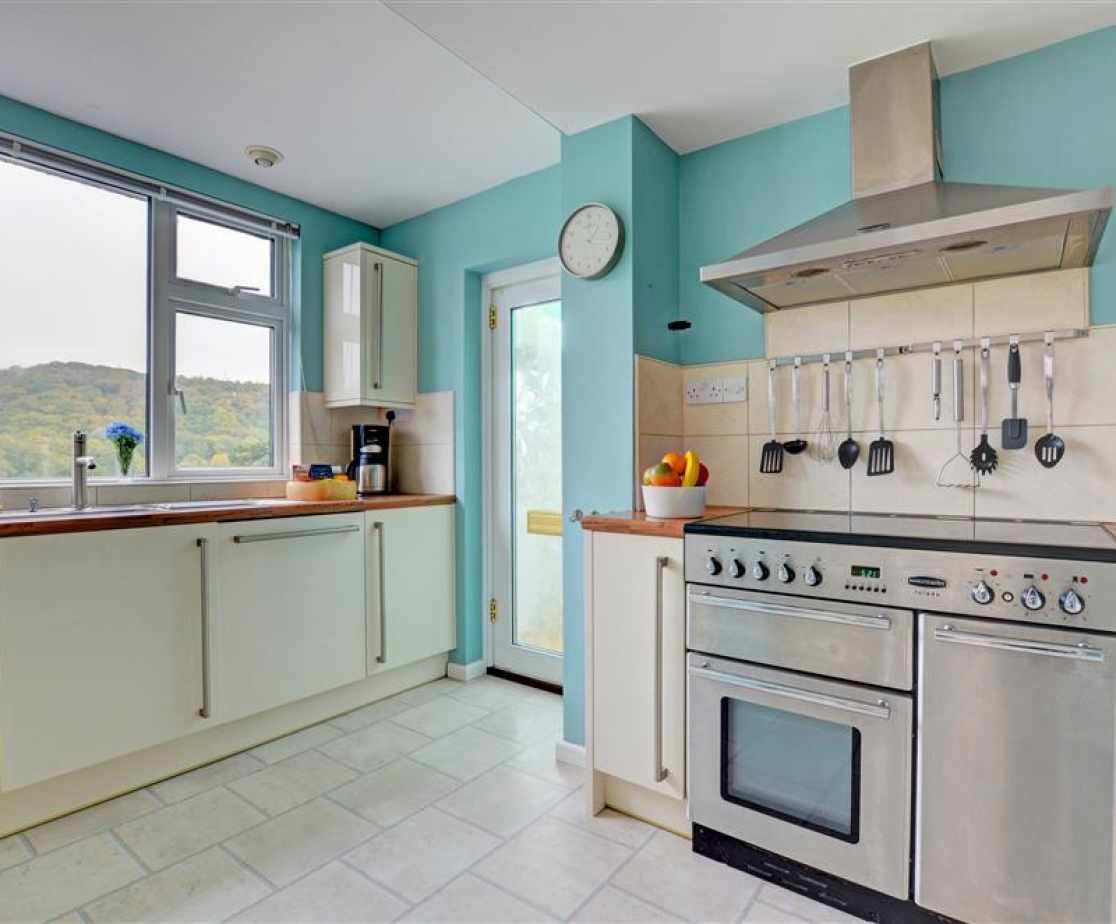 Kitchen with electric cooker, microwave, fridge, freezer and dishwasher