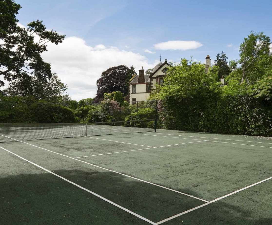 The all weather tennis court is available for visitors