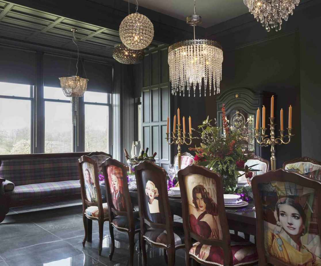 The formal dining room is an atmospheric space for entertaining