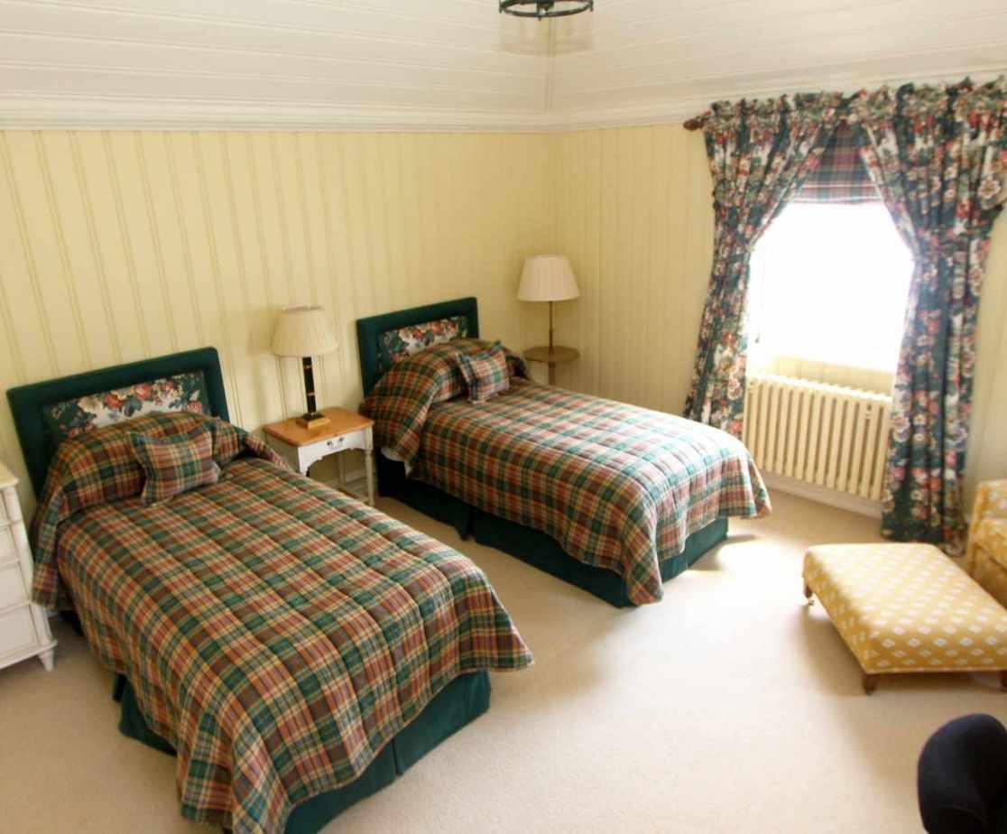 Bedroom 4, Tartan twin room on the second floor.