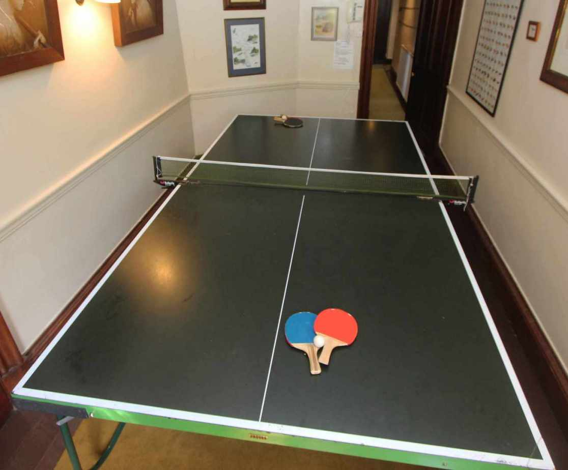 A table tennis table is available too