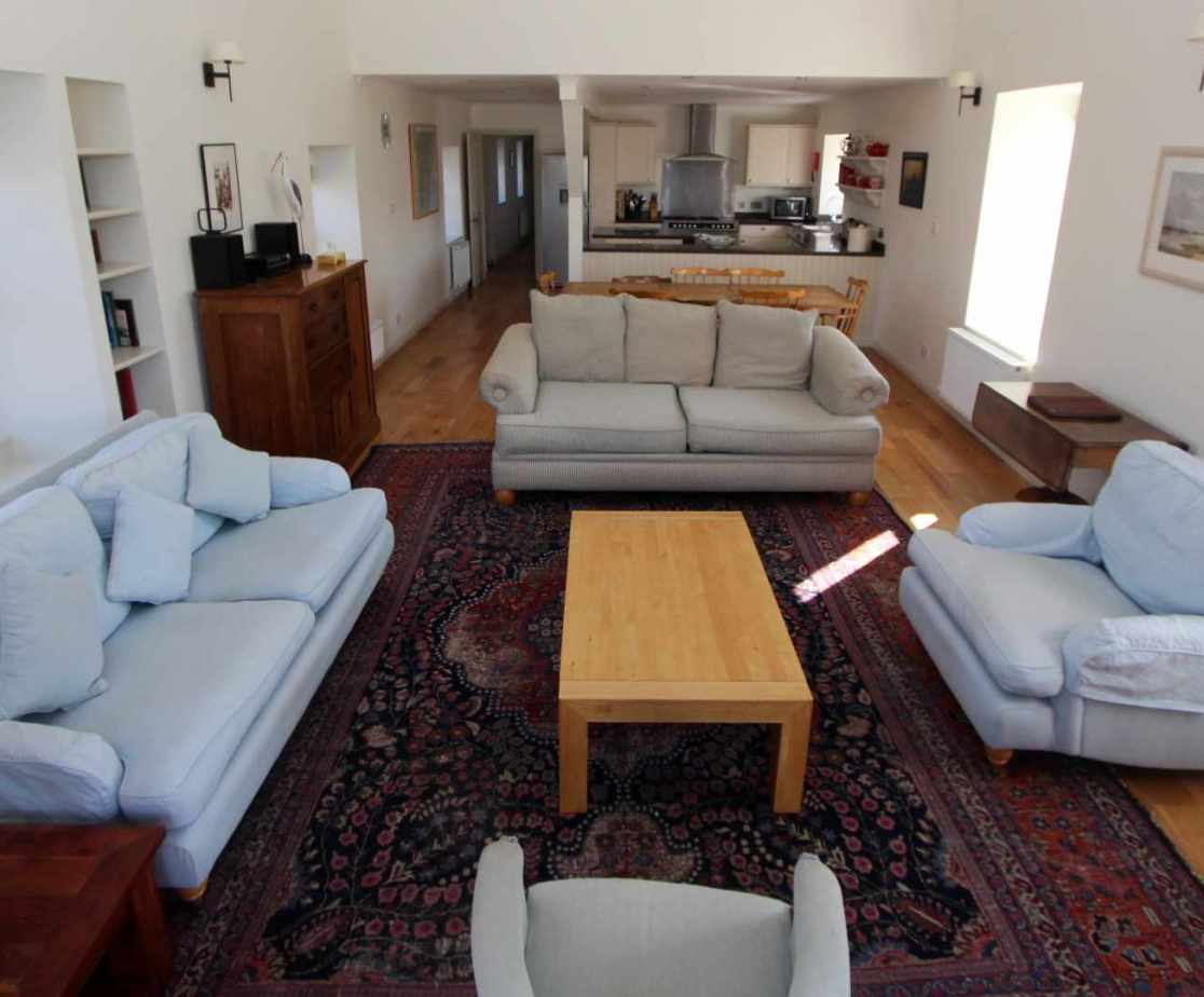 The open-plan space with living area on show
