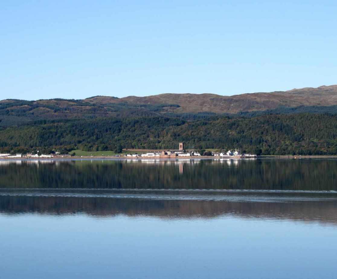 Looking across Loch Fyne to Inveraray