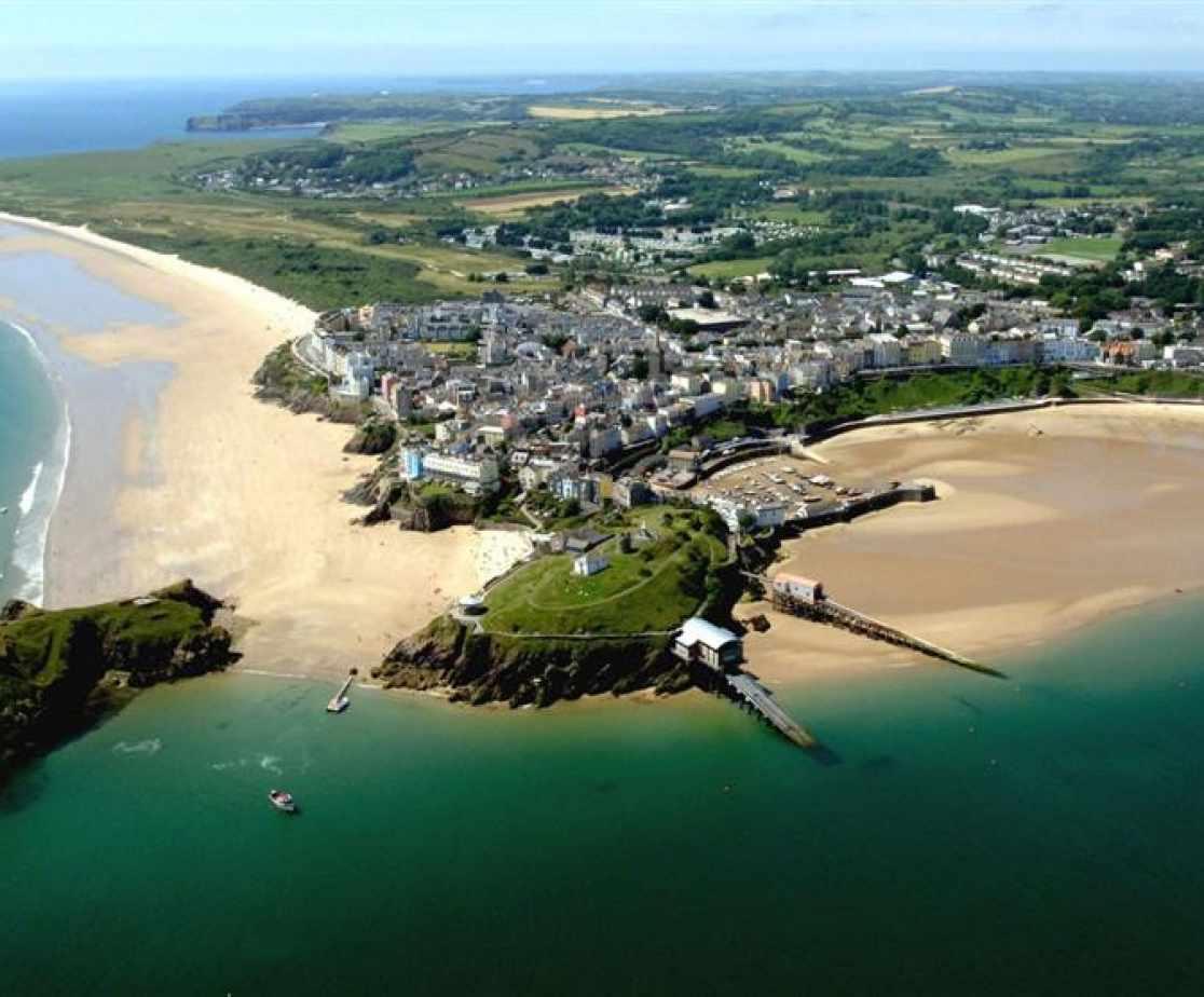 seaside resort tenby town beaches harbour