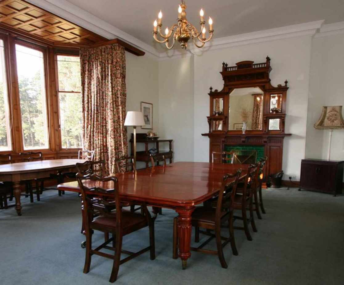 The dining room is a large room