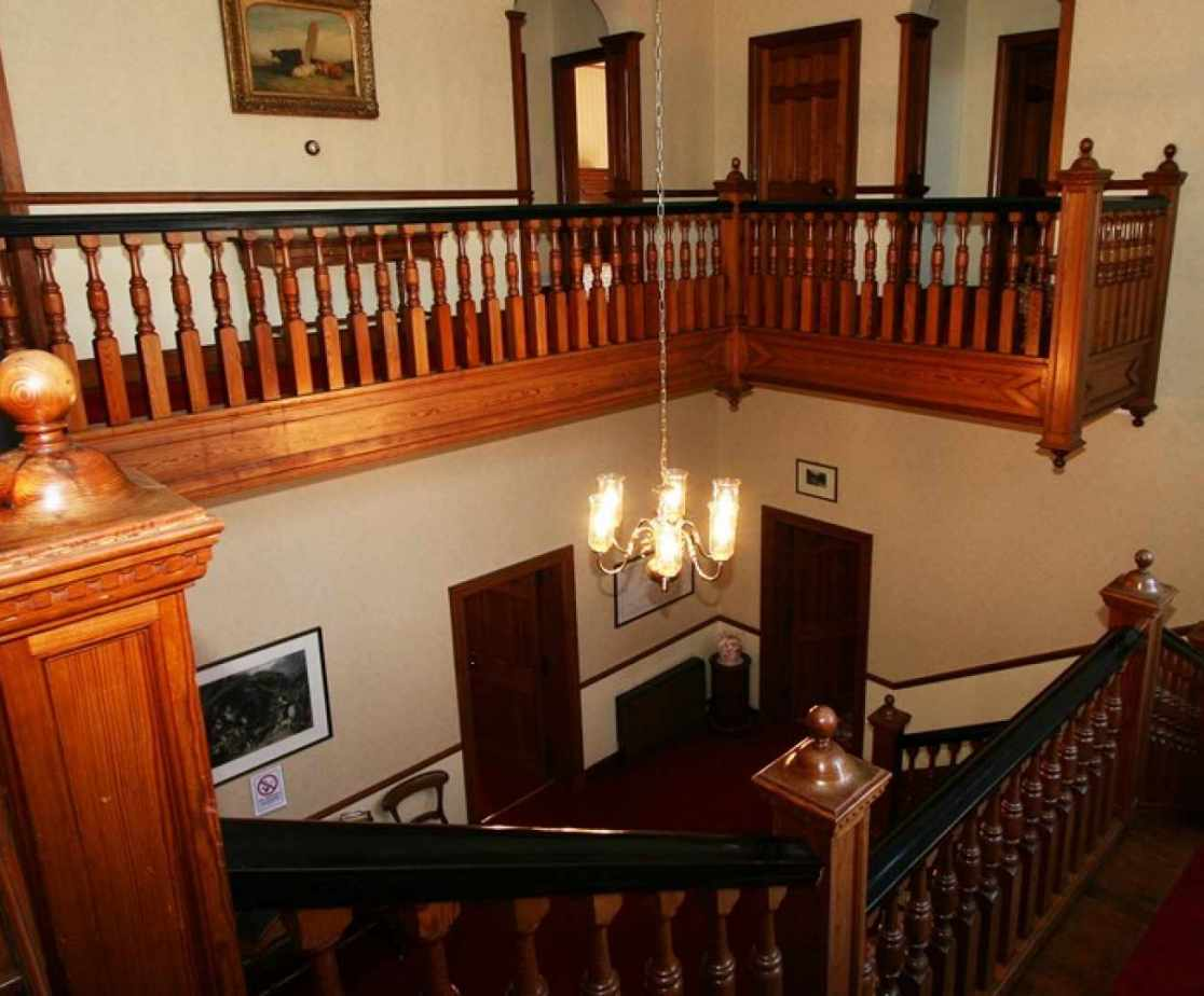 The view from the pitch pine staircase
