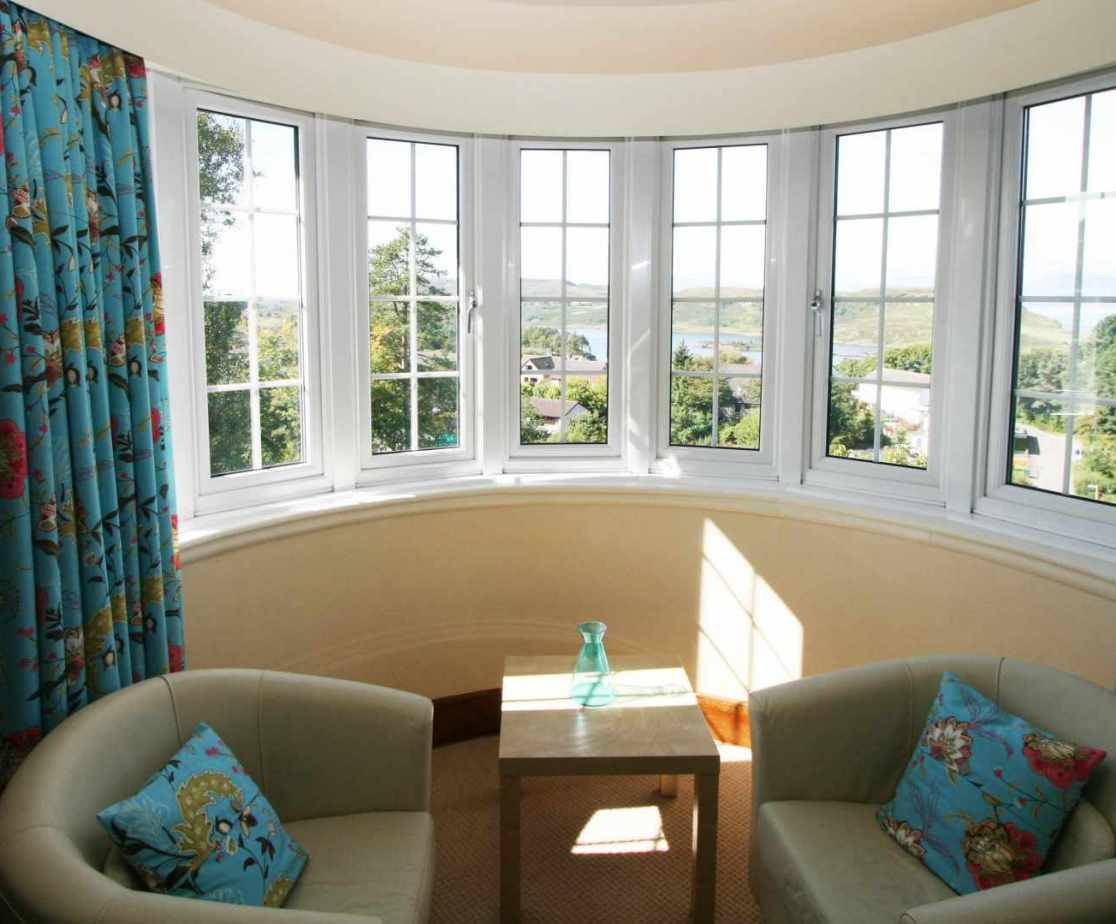The master bedroom bay window with sea view