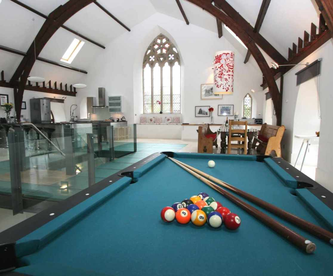 Games section with a pool table