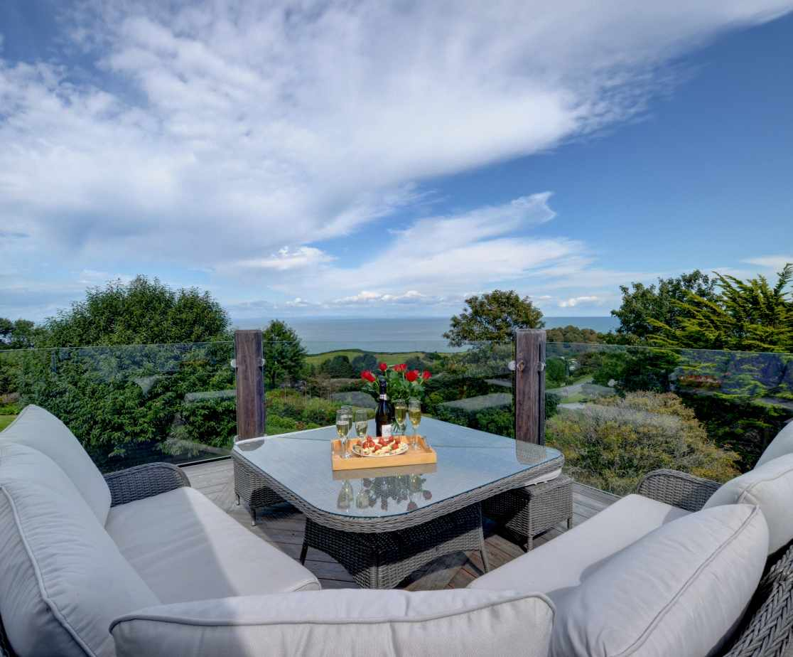 One of the many external seating areas which takes full advantage of the views