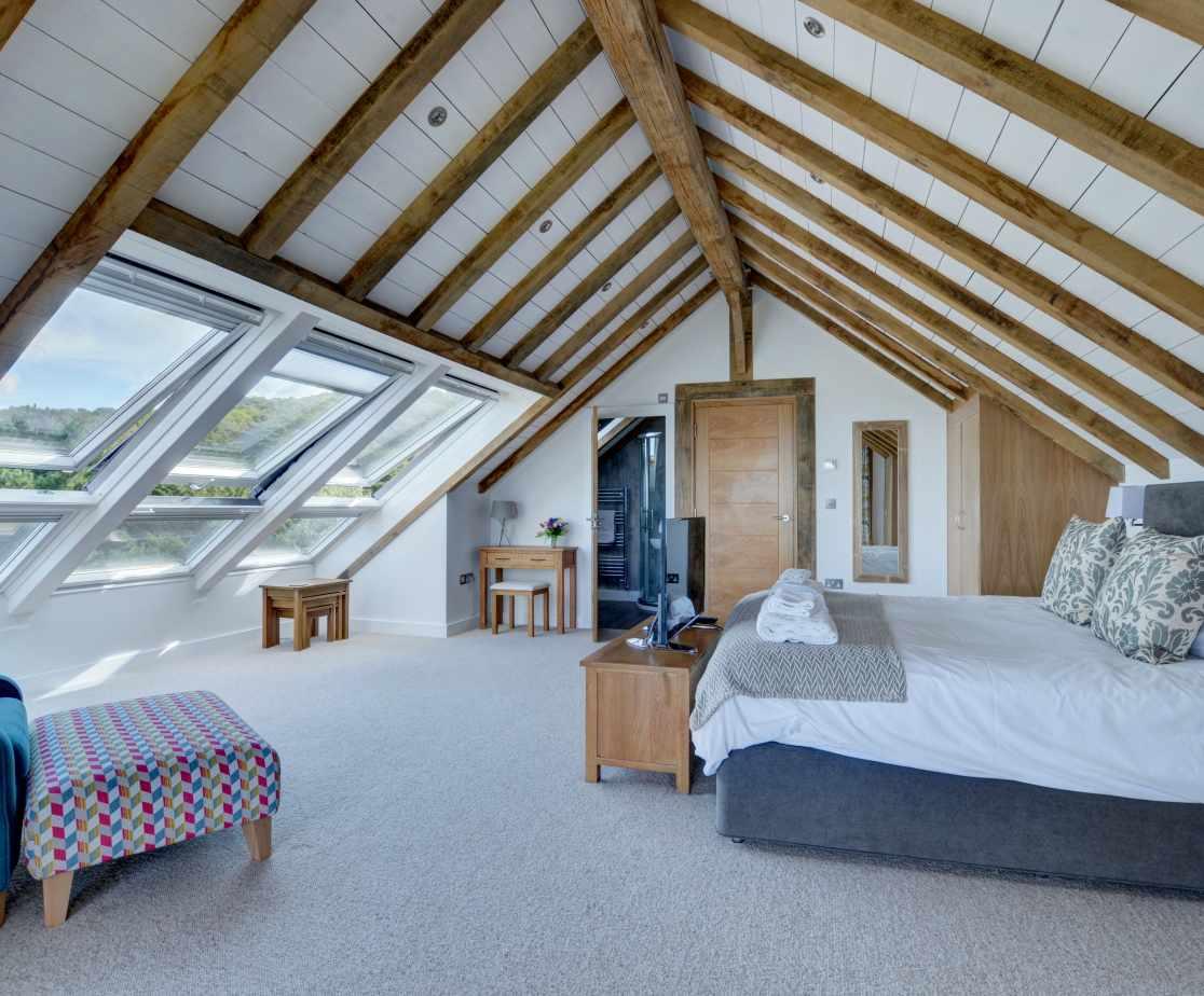 The huge stunning master bedroom with ensuite bathroom