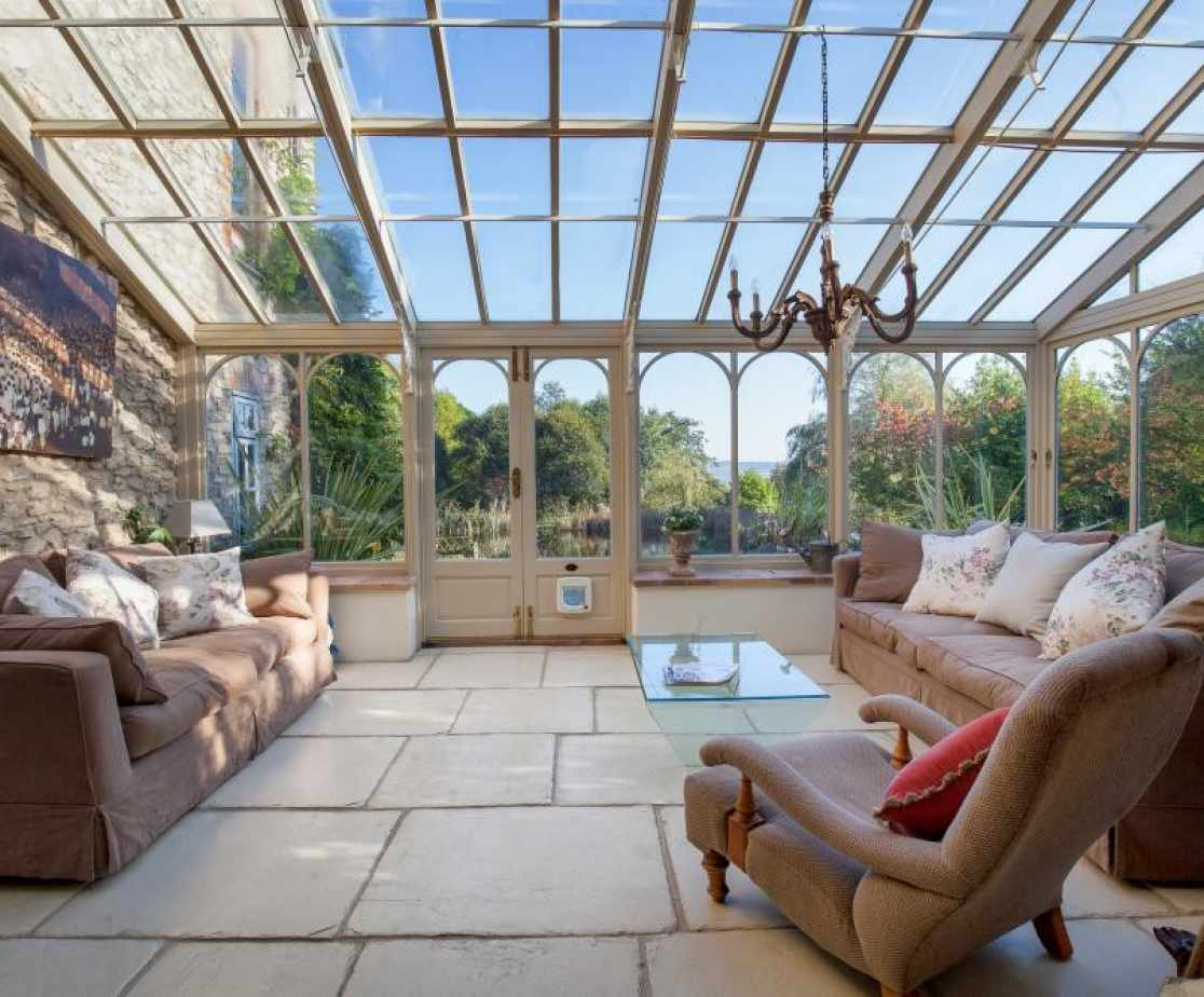 A sunny garden room for relaxation