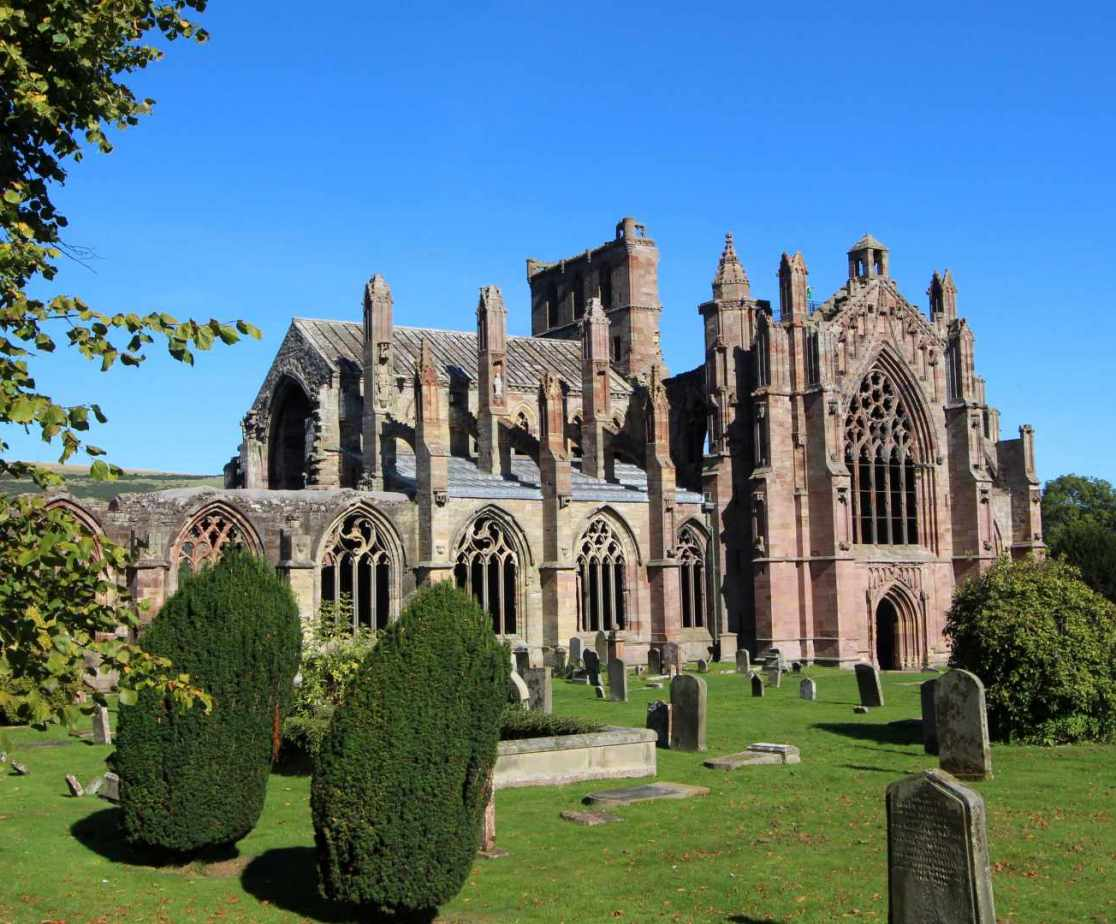 St Mary\'s Abbey in Melrose is a very short walk from the house
