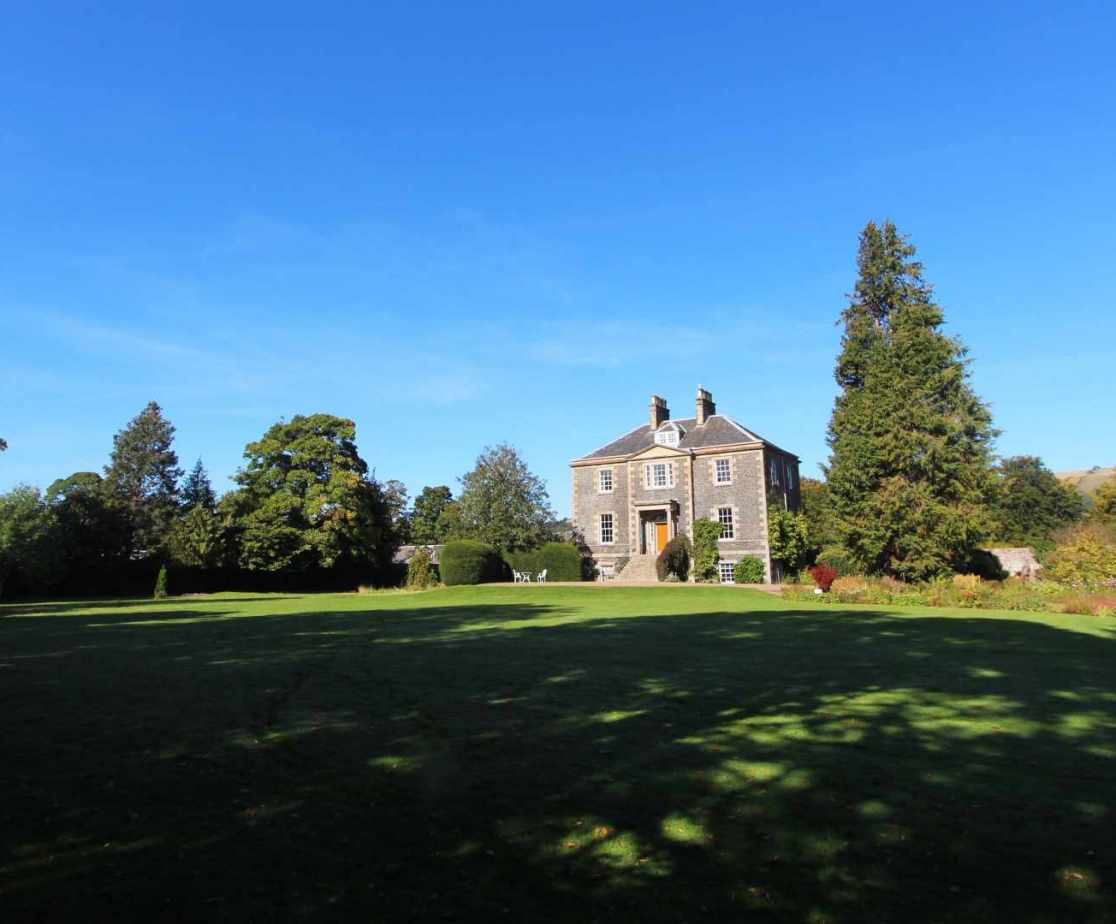 A fine view across the lawn to the holiday house in Melrose