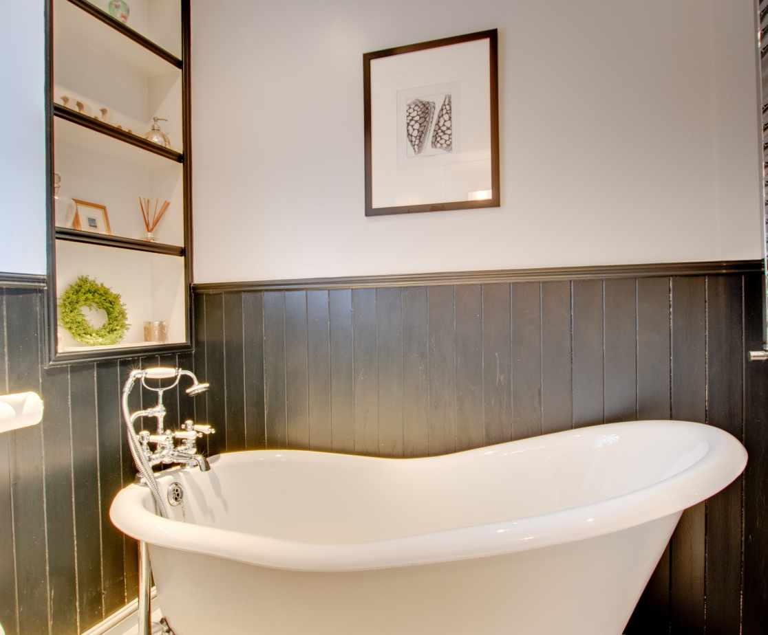 Family Bathroom with slipper bath, separate shower, basin and WC