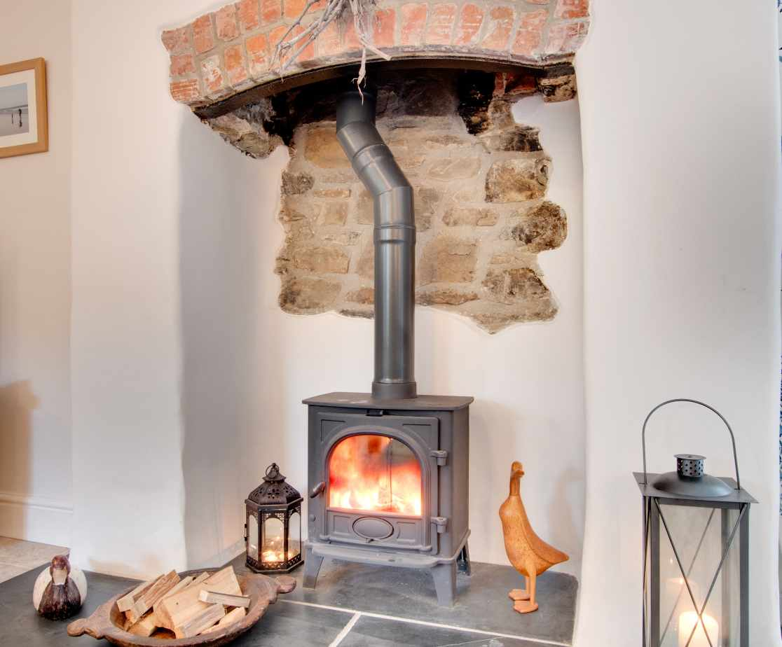 Wood burner, perfect for cooler evenings
