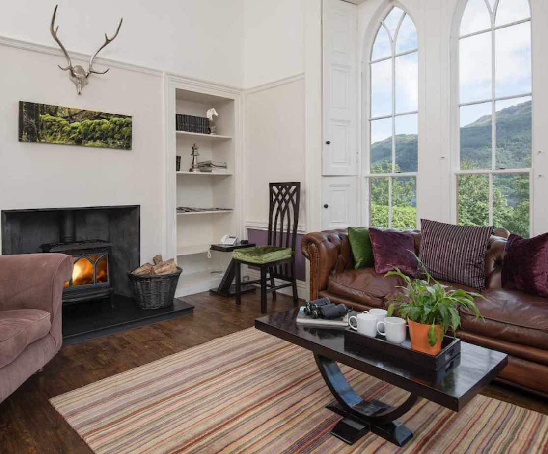 The study has georgous views of the grounds and Loch