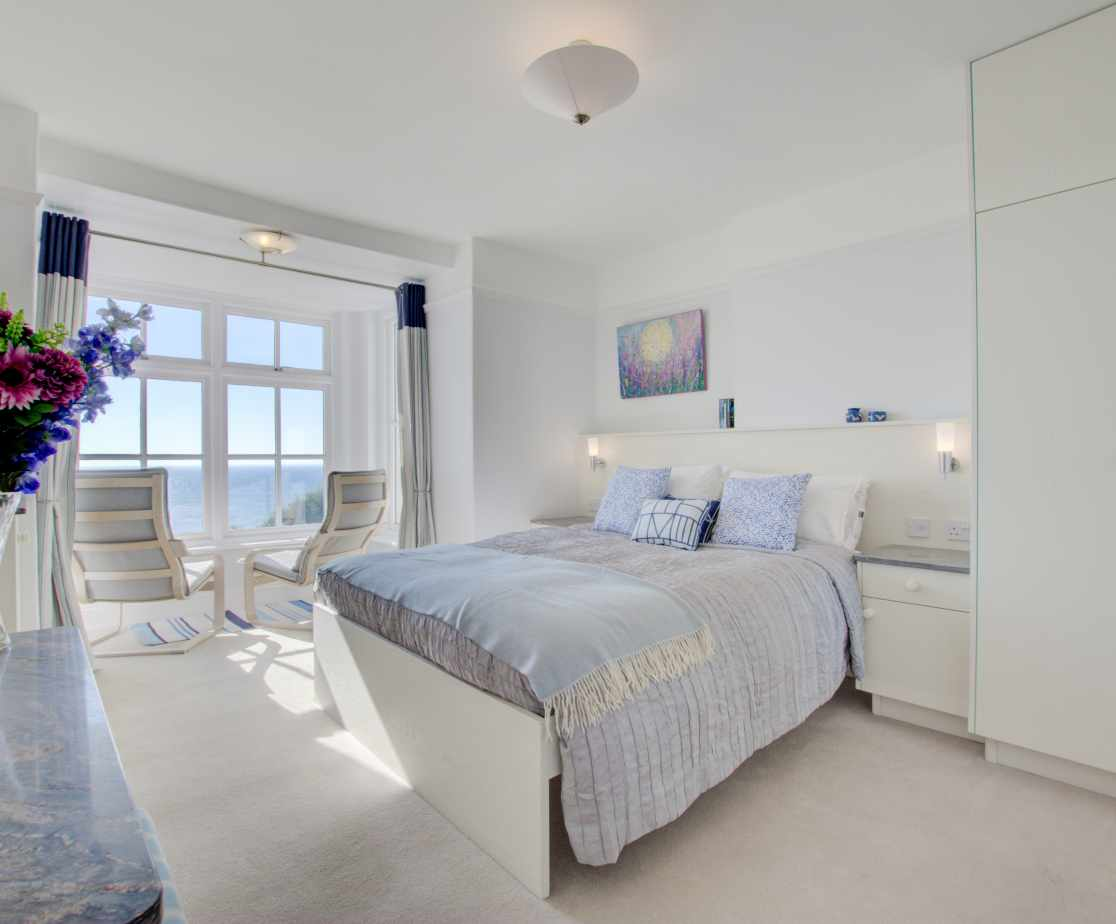 Bedroom 2 with en suite and fabulous sea views