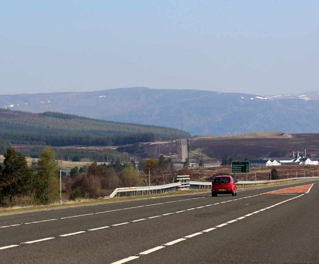 The A9 Road near Dalwhinnie, on route to the holiday house