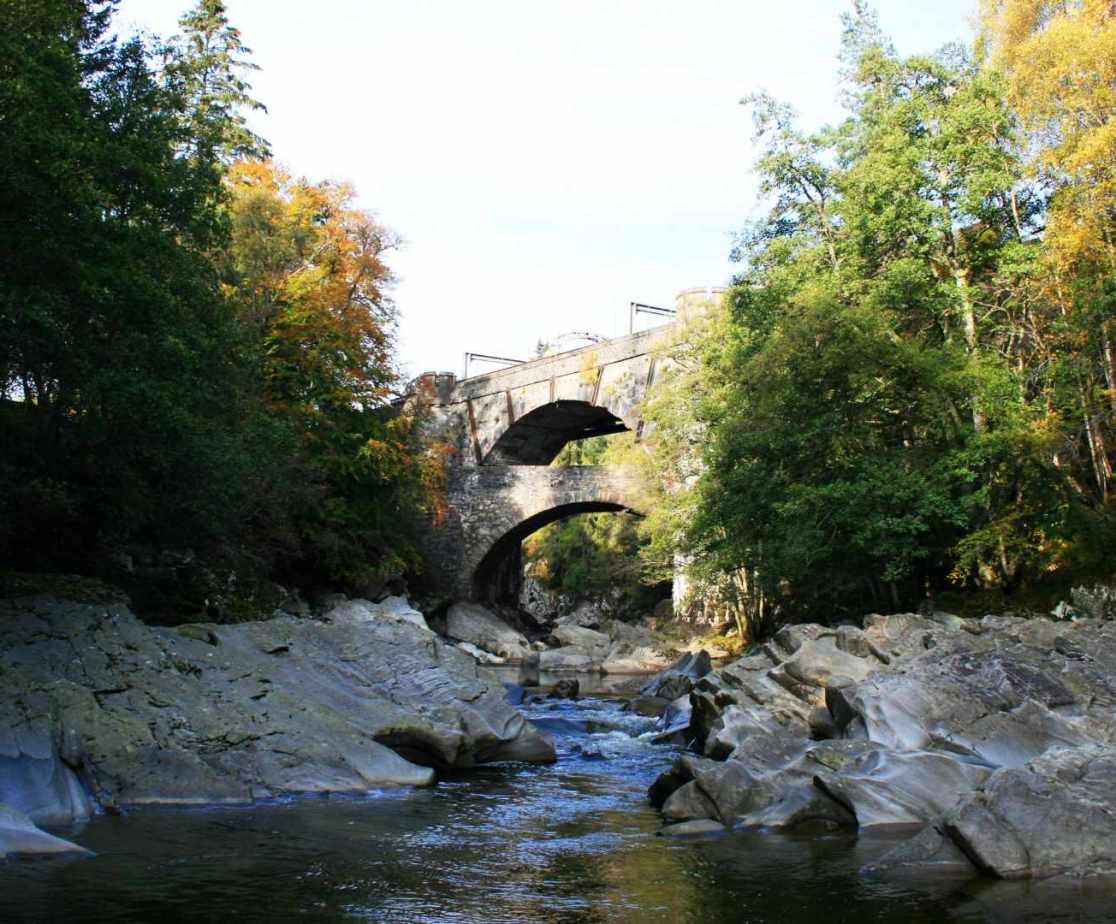 Calvine Double bridge is a railway bridge over a road bridge