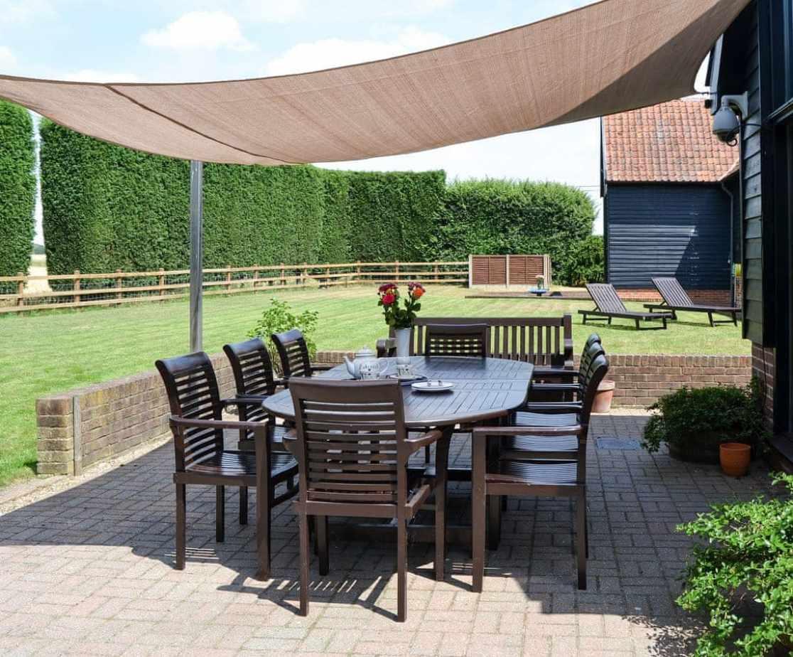 Outdoor seating area overlooking the garden