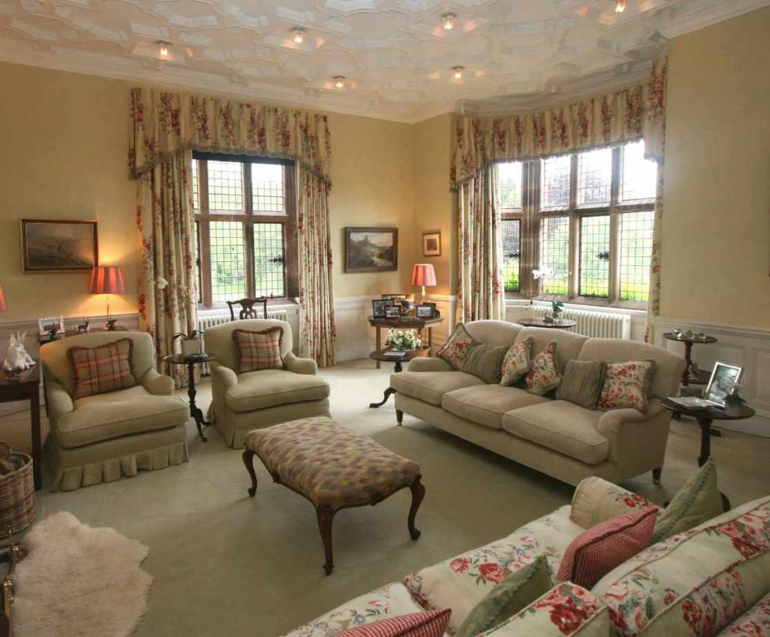 The drawing room is traditional in style
