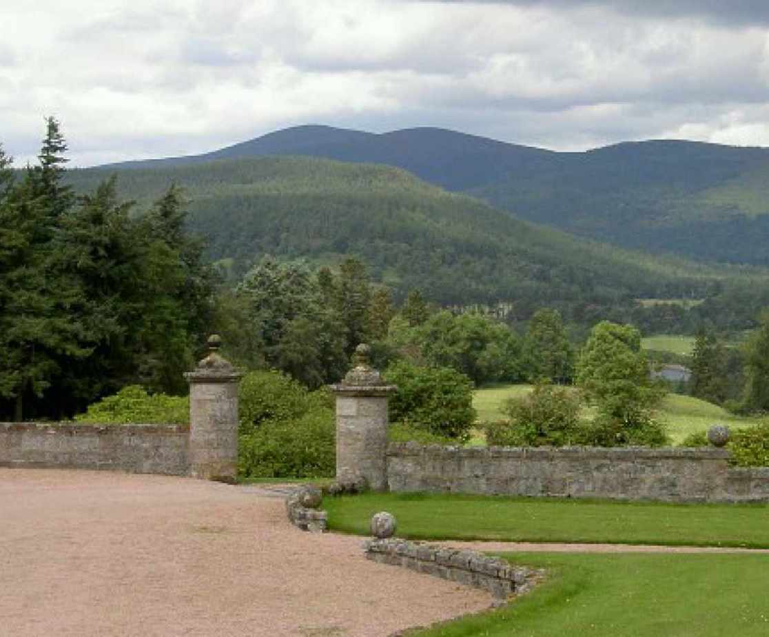 The views overlook Ballater and the river Dee