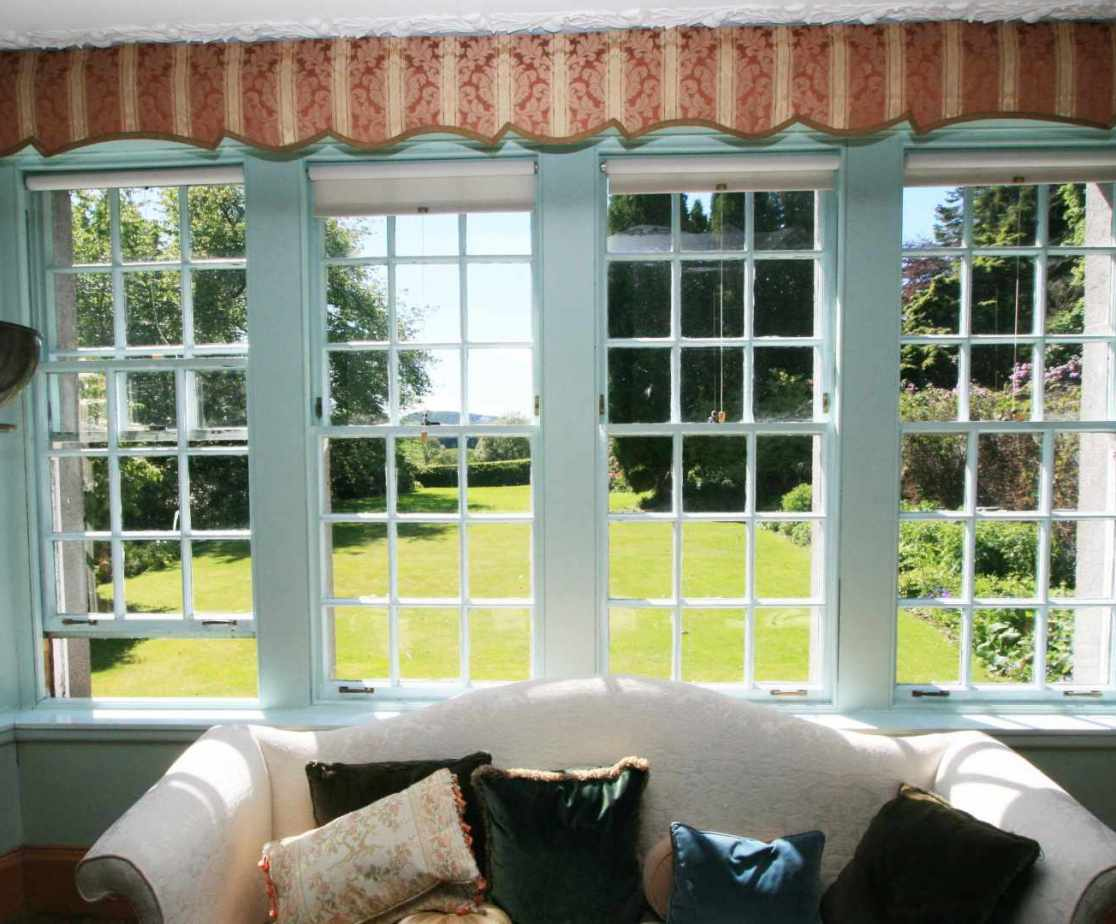 The impressive drawing room bay windows