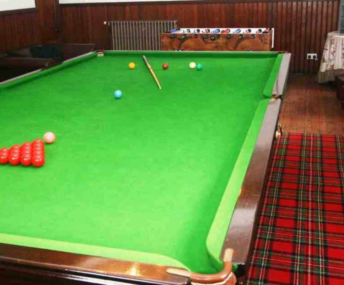The full size billiard table will provide entertainment for all