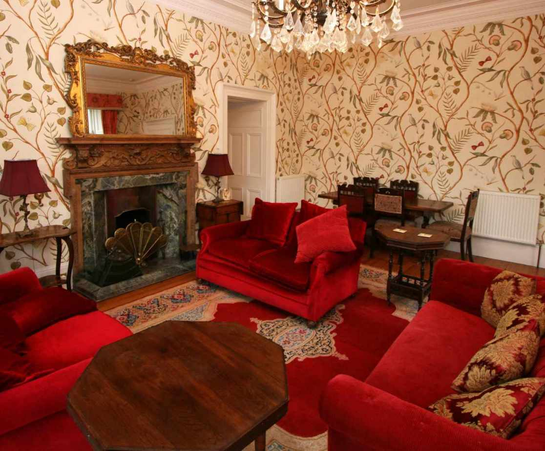 The elegant drawing room is located at the front of the house
