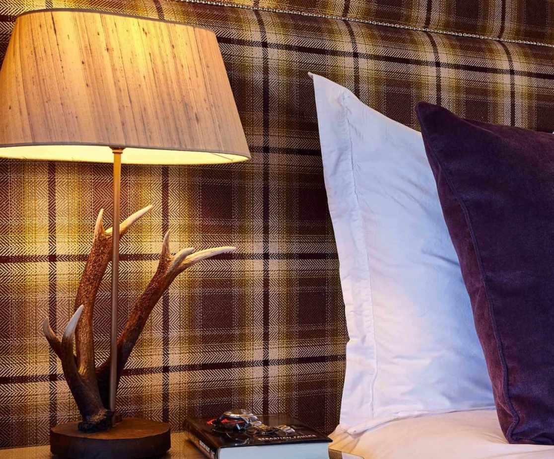 Beautiful antler bedside lamps.
