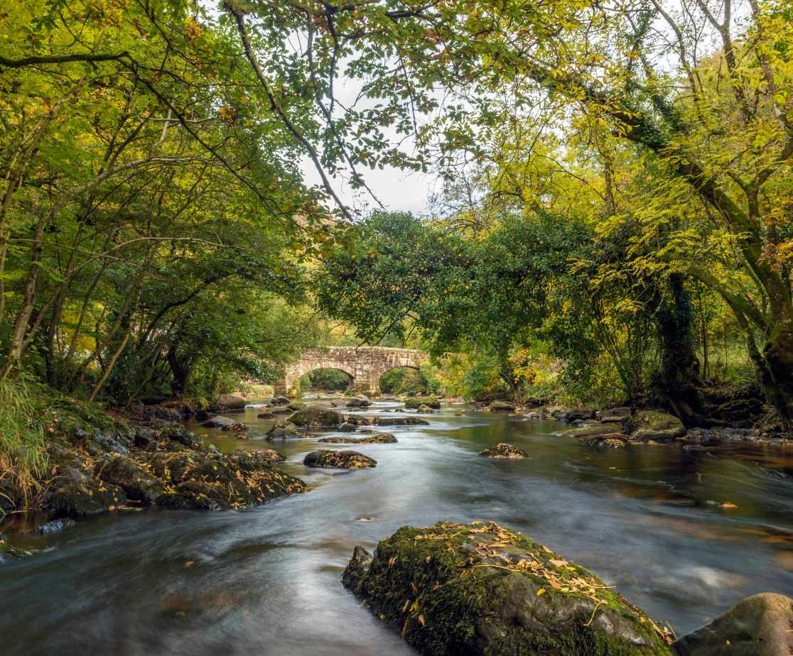 Landscape depicting the beautiful meandering River Teign on a bright Autumn day. Image taken at Fingle Bridge near Castle Drogo in the Dartmoor National Park,, Chagford, Devon, England.