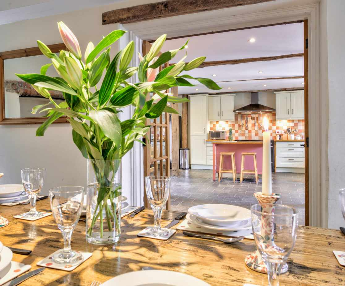 The dining room is next to the kitchen making entertaining easy